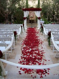 Wedding Ceremony Decor Ideas with linen and florals