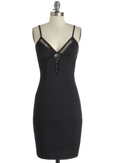 Swathed in Suave Dress - Mid-length, Black, Solid, Party, Spaghetti Straps, Cutout, Lace, Bodycon / Bandage, Girls Night Out