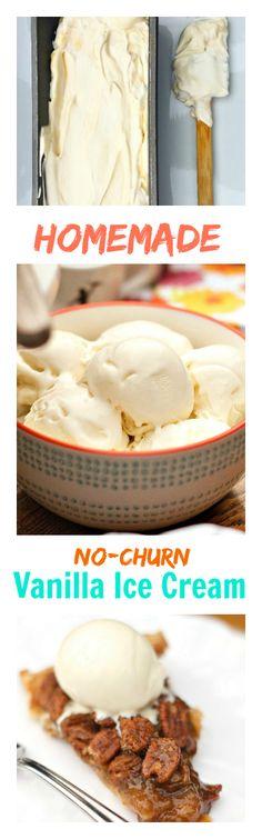 Homemade NO-CHURN Vanilla Ice Cream | ReluctantEntertainer.com