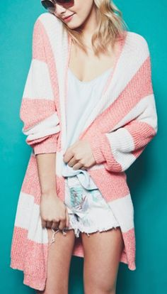 striped coral cardigan  http://rstyle.me/n/i6uy5pdpe