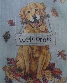Welcome Dog Cross Stitch Kit Golden Retriever Best Friend 5x7 Charm Fall Leaves  #Dimensions