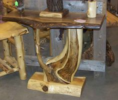 Furnish your cabin or home with our handcrafted log tables and rustic furniture. Cedar Furniture, Rustic Log Furniture, Driftwood Furniture, Cool Furniture, Western Furniture, Furniture Design, Log Table, Rustic Table, Rustic Wood
