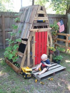 The best use of pallet is to build a small but spacious house or hut for your children to play. As it is compact so it will consume less space and will be done with very little expenditure. You can paint it and put plants all around so you child can play there.