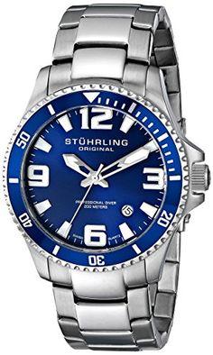 Stuhrling Original Men's 395.33U16 Aquadiver Regatta Champion Professional Diver Swiss Quartz Date Blue Bezel Watch - http://www.rekomande.com/stuhrling-original-mens-395-33u16-aquadiver-regatta-champion-professional-diver-swiss-quartz-date-blue-bezel-watch/