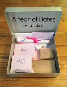 A Year of Dates (in a box) from The Babes Ruth. Great anniversary or wedding gift! This link includes all templates and printables.