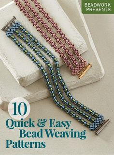beaded jewelry patterns With the 10 Quick amp; Easy Bead Weaving Patterns eBook, youll get to create stylish jewelry using a variety of bead weaving techniques such as kumihimo, right-angle weave, square stitch and many more! Bead Embroidery Patterns, Bead Crochet Patterns, Weaving Patterns, Art Patterns, Mosaic Patterns, Color Patterns, Knitting Patterns, Weaving Designs, Weaving Projects