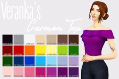 Veranka's Carmen Top Recoloured Let me know if there are any problems. Please read my TOU before downloading! You can find it here All credit goes to @veranka-s4cc for the mesh. ● Standalone ● You NEED the Mesh by @veranka-s4cc - You can get it...