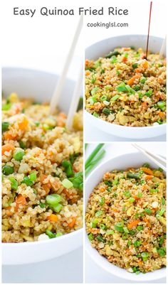 Easy Quinoa Fried Rice – simple to make side dish, combining quinoa with some awesome Asian flavors.