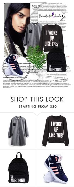 """Beautifulhalo"" by merima-gutic ❤ liked on Polyvore featuring Balmain, Moschino, adidas, women's clothing, women, female, woman, misses and juniors"