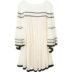 Chloé Cream Silk Crepon Dress With Black Stripes (€2.485) ❤ liked on Polyvore featuring dresses, silk slip, stripe dresses, flare dress, long silk dress and striped dress