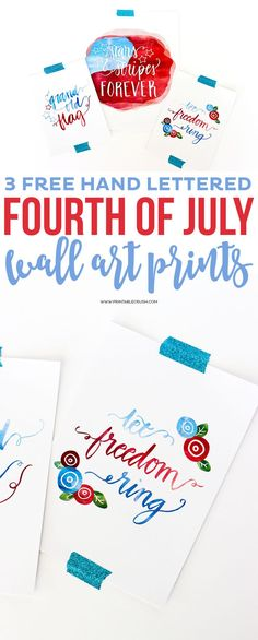 These pretty Hand Lettered Fourth of July Wall Art Prints will go great with your patriotic decor! Comes in three different designs! Fourth Of July Decor, 4th Of July Decorations, 4th Of July Party, July 4th, Paper Wall Decor, Wall Decor Stickers, Diy Wall Art, Patriotic Crafts, Patriotic Party