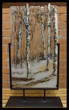 Birches: I made this for the Women's Exhibit in Warwick Museum in Warwick, R.I. I made the background translucent so it would pick up the muted color of the wall or window placed behind it.