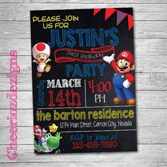 Mario Birthday Invitation- Mario Party -Boy or Girl - Any Age- Custom - Printable- Digital File
