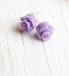 Tiny Rose Earrings . Lavender