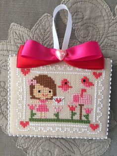 Finished Cross Stitch Ornament Pen Pals Valentine's Day Hearts Love Flowers Bird | eBay