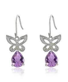 This Amethyst & Diamond Butterfly Drop Earrings by Endearing is perfect! #zulilyfinds