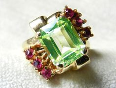 Spinel Engagement Ring Art Deco Ring 14K 3 Carat Green Spinel Ring Ruby Ring July birthday