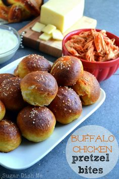 Buffalo Chicken Pretzel Bites -- soft pretzel bites stuffed with buffalo chicken and cheese! Perfect football food and omg so good!