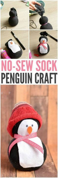 Adorable no-sew sock penguin craft - easy handicrafts for children, arts and crafts for . - DIY and do-it-yourself decorations - Adorable no-sew sock penguin craft – easy crafts for kids, arts and crafts for … - Arts And Crafts For Teens, Easy Crafts For Kids, Kids Diy, Arts And Crafts For Kids Easy, Quick Diy Projects To Sell, Crafts To Make And Sell Easy, Sell Quick, Diy Crafts For Kids Easy, Crafts Cheap