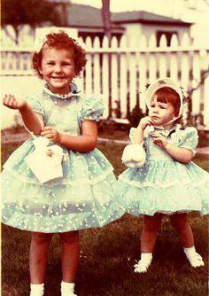 Sisters in their Easter dresses, 1956 Vintage Easter Vintage Moms @rubylanecom www.rubylane.com  #rubylane