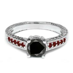 0.35 Ct Round Black Diamond Red Garnet 925 Sterling Silver Engagement Ring Gem Stone King. $163.99. This Item Contains 100% Natural Stones. This item is proudly custom made in the USA
