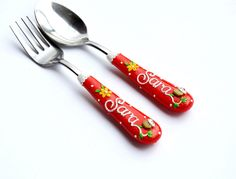 Red Cutlery Set Children or Adult Spoon Fork Name by RadArtaDesign