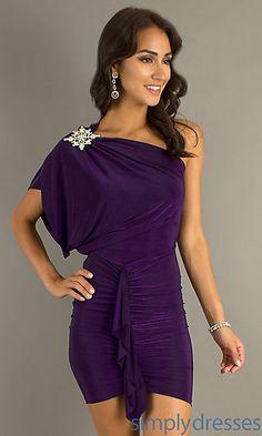 Short One Shoulder Dress at SimplyDresses.com