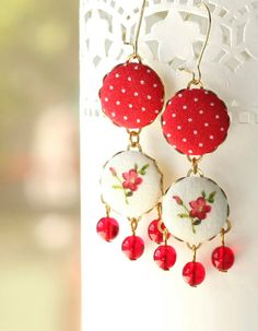 Flowers Dangle Earrings - Triple Red Polka Dots and Little Flowers on White Romantic Fabric Covered Buttons Earrings with Czech Glass Beads