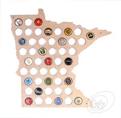 Beer Cap Map Minnesota Beer Cap Map Beer Cap Holder Gift by Oksis