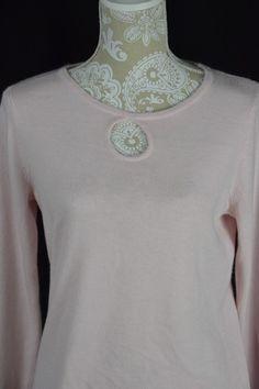 Designers Originals Womens Medium Light Pink Soft Keyhole Long Sleeve Sweater #DesignersOriginal #Keyhole