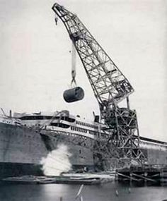 A boiler of the Britannic being installed.