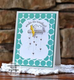 Card by Amy Sheffer. Reverse Confetti stamp set and coordinating Confetti Cuts: Weather It Together. Quick Card Panels: Weather or Dot (and stripes). Get Well Card. Encouragement Card. Friendship card.