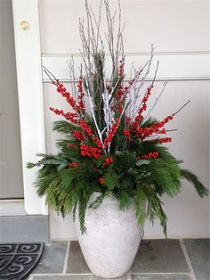 Amazing Front Porch Christmas Decorating Ideas, Winter pots, Christmas Decor Outdoor,Christmas O Outdoor Christmas Planters, Christmas Urns, Christmas Garden Decorations, Christmas Flower Arrangements, Christmas Flowers, Christmas Centerpieces, Xmas, Christmas Porch Ideas, Tacky Christmas