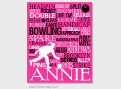 Bowling Typography Art Print, Perfect Girl's Room Art, You Choose the Colors, Great Gift for Mother's day or Bowling Lover in Hot Pink, Black and White