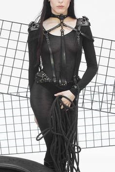 TEO+NG Clarice Black Leather Harness - photographed and worn by Sout Pare Phillips