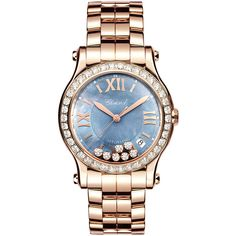 Chopard 36mm Happy Sport 18k Rose Gold Bracelet Watch with Diamonds ($37,760) ❤ liked on Polyvore featuring jewelry, watches, roman numeral watches, diamond bezel watches, rose gold bracelet watch, diamond watches and leather-strap watches