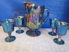 shopgoodwill.com: carnival glass pitcher  w/ 4 goblets