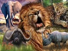 """Search Results for """"big five wallpaper free"""" – Adorable Wallpapers African Art Paintings, Animal Paintings, Large Animals, Animals And Pets, Wild Animals, Welcome To The Jungle, African Safari, Lions, Animal Pictures"""