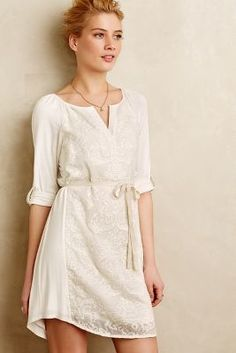 #anthrofave Tiny Paperwhites Embroidered Shirtdress