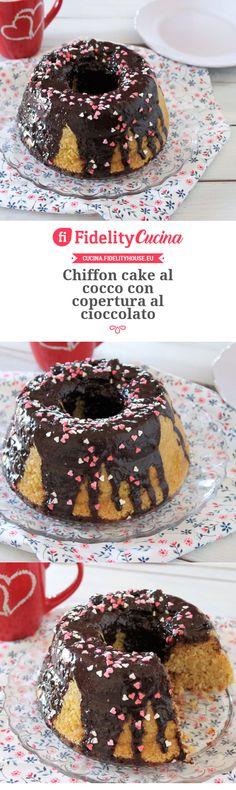 Chiffon cake al cocco con copertura al cioccolato