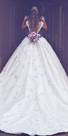 30 Ball Gown Wedding Dresses Fit For A Queen � ball gown wedding dresses open back with cap sleeves saidmhamadofficial #weddingforward #wedding #bride #weddingdress