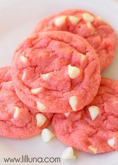 Strawberries N Cream Pudding Cookies - INGREDIENTS  1 cup butter softened  2 TB strawberry jello  2 eggs  1 cup sugar  1 tsp. vanilla  1 white chocolate pudding package  2 1/2 cups flour  1 tsp. baking soda  1/2 tsp. salt  1 bag white chocolate chips  INSTRUCTIONS   9-11 minutes @ 350°