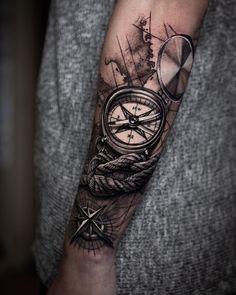Black and Grey Tattoos - Tattoo Designs Men Forearm Band Tattoos, Map Tattoos, Neue Tattoos, Best Sleeve Tattoos, Tattoo Sleeve Designs, Arm Tattoos For Guys, Tattoo Designs Men, Arm Tattoos Black And Grey, Black Tattoos