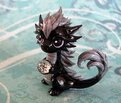 Black and Silver Dragon by DragonsAndBeasties on Etsy