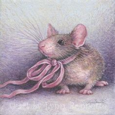 """Art by Lynn Bonnette: """"Pretty in Pink"""" save by Antonella B. Jessie Willcox Smith, Mouse Paint, Mouse Illustration, Mouse Pictures, Mouse Crafts, Pet Mice, Marjolein Bastin, Bunny Art, Cute Mouse"""