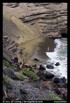 Beachgoers and green sand beach near South Point. Big Island, Hawaii, USA (color)