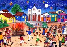 ROSANGELA BORGES TEMA FESTA JUNINA A VENDA COM AJUR SP (Pintura),  40x60 cm por Arte Naif AJUR SP VENDEDOR E DIVULGADOR DA ARTE NAIF BRASILEIRA