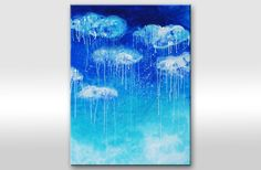 """""""Leaking sky"""" painting is painted on mounted canvas with acrylic paint.  Measures: 80 x 60cm (32"""" x 24"""" inches)  Colors: blue, light blue, white    The sides are painted so there is no need to frame.    Guaranteed original!  $139.00"""