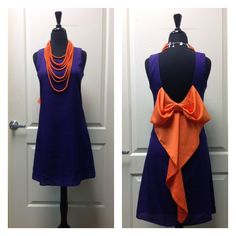 Clemson bow back dress