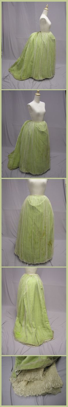 1880's Apple Green Bustle Ball Gown Skirt.  Waist of 23, and a length of 40.5 inches. From ebay seller: svpmeow1